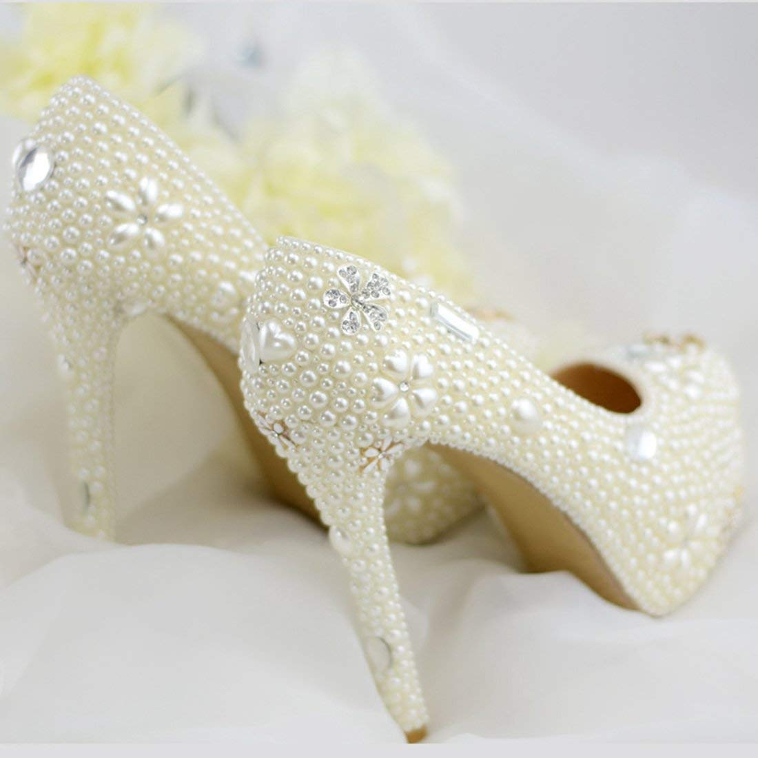 ZHRUI ZHRUI ZHRUI Damen Versteckte Plattform High Heel Elfenbein Perlen Slip-on Braut Hochzeit Schuhe UK 4.5 (Farbe   -, Größe   -) 460db2