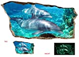 Startonight 3D Mural Wall Art Photo Decor Window Dolphins in Water Amazing Dual View Surprise Large Wall Mural Wallpaper for Living Room or Bedroom Beach 120 x 220 cm