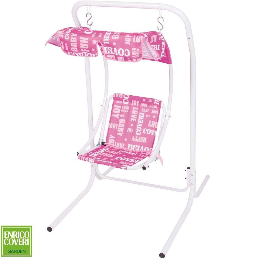 Enrico Coveri Dondolo Altalena per Bambini Colore Rosa 1 posto Modello Swing con Parasole Tendina