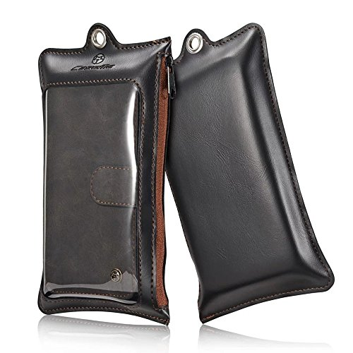 CASEME Multi-functional 2-in-1 Zipper Wallet Split Leather Tasche Hüllen Schutzhülle - Case für iPhone 6s Plus / 6 Plus - schwarz