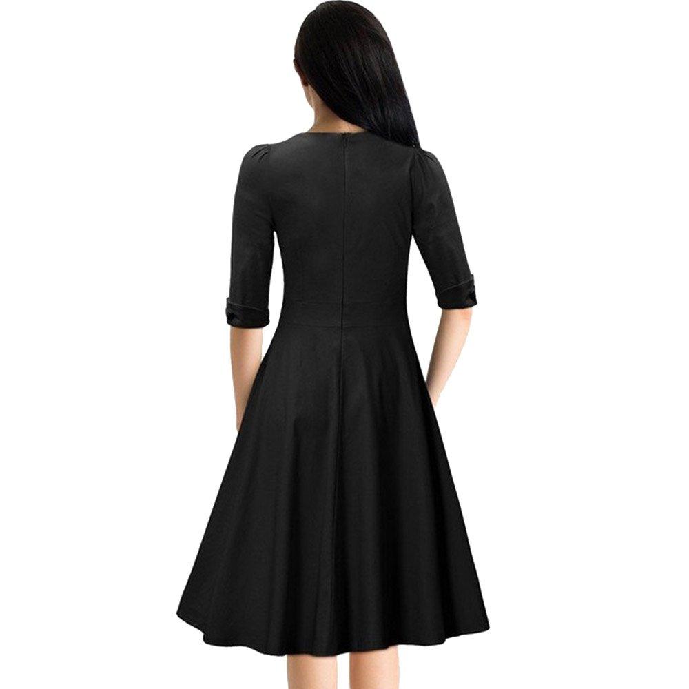 1698d2905f8 RoseGal Women s Vintage 1940s Sweetheart Neckline Half Sleeve Prom Dress(Black  M)  Amazon.co.uk  Clothing