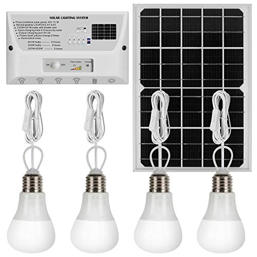 YINGHAO Upgraded 12W Solar Panel with 4 Bulbs Solar LED Lighting System & Phone Charger with 4 Imported LED Lights, 12W Solar Panel Charge Controller, USB Port with Cell Phone Chargers Included