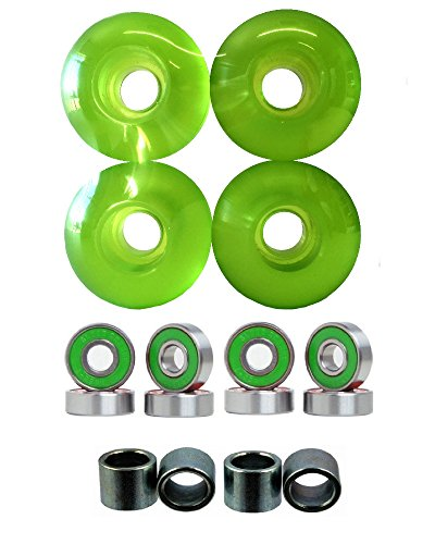 (Everland 52mm Wheels w/Bearings & Spacers (Clear Green) )