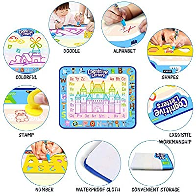 Aqua Magic Mat, Kids Painting Writing Doodle Board Toy Color Doodle Water Drawing Mat Educational Toys for Age 1 2 3 4 5 6 7 8 9 10 Year Old Girls Boys Age Toddler Birthday Xmas Gift (39.5