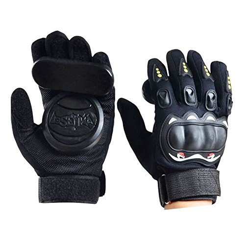 - IMPORX Longboard Slide Gloves Downhill Standard Skate Gloves with 2 Slider Puck Set(Black)