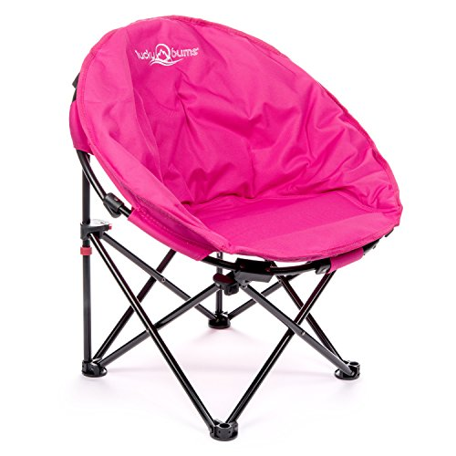 Lucky Bums Moon Camp Kids Indoor Outdoor Comfort Lightweight Durable Chair with Carrying Case, Pink, Medium