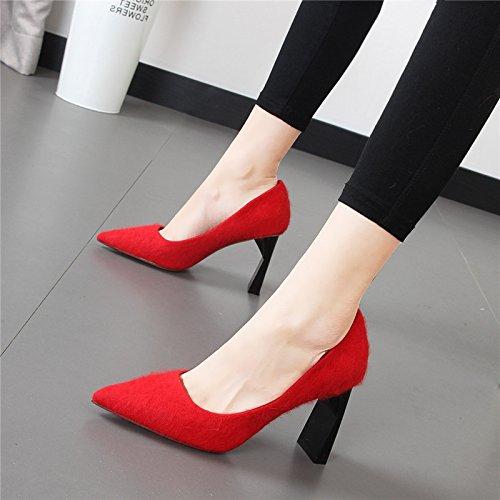 HGDLH-Calzado de Mujer/Confort/Zapatos De Tacon Puntiagudo, Shallow Suede, Zapatos De Novia, Moda Sexy, Único Talón Zapatos Especiales,Treinta Y Siete,De Gules Thirty-seven|gules