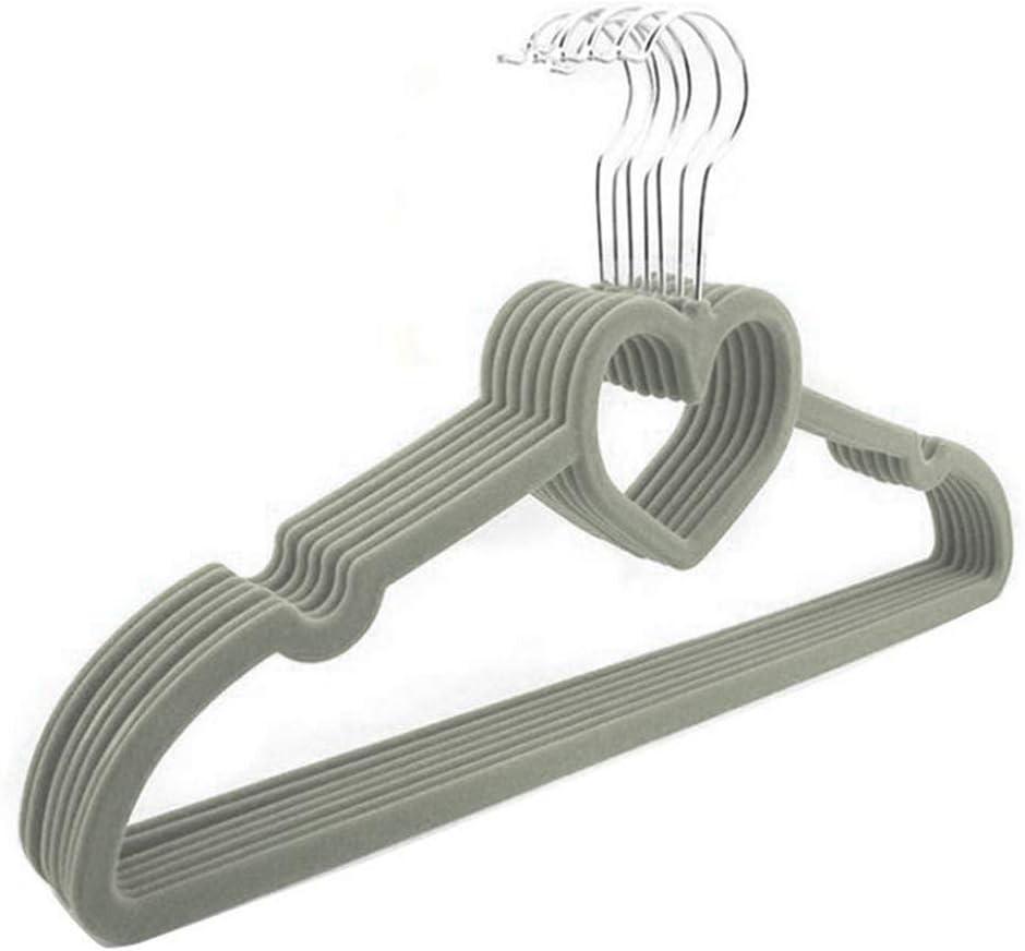Tama/ño libre Juego de 10 perchas de pl/ástico para guardar ropa en forma de coraz/ón Gris No nulo
