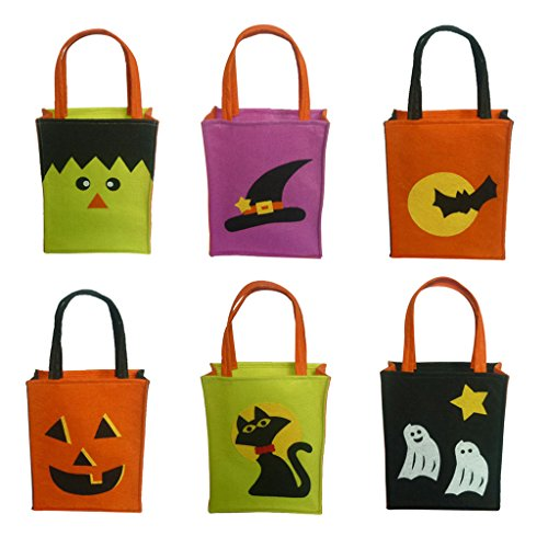Jili Online Pieces of 6 Non-woven Fabric Mixed Style Halloween Holiday Trick or Treat Loot Tote Bags with Handle Home Party Gift Bags by Jili Online