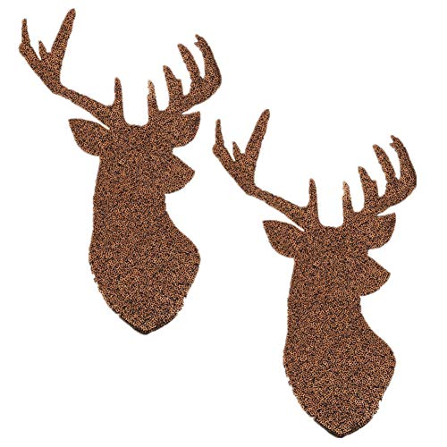(2 Pack Jumbo Christmas Deer Head Iron on Patches Sew on Embroidered Patch Sequin Appliques for DIY Motif Family Chritmas Tops Home Decor (Chocolate))