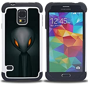 GIFT CHOICE / Defensor Cubierta de protección completa Flexible TPU Silicona + Duro PC Estuche protector Cáscara Funda Caso / Combo Case for Samsung Galaxy S5 V SM-G900 // Alien Space Grey Man Black //