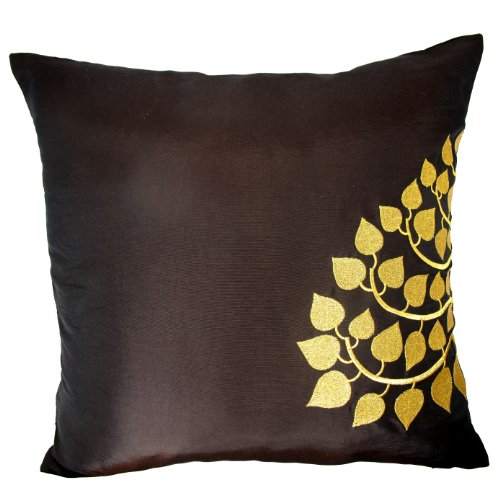 Contemporary Thai Silk Throw Pillow Cover (Cushion Cover), Gold Embroidered Bodhi Tree Leaves De ...