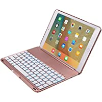 iPad Air 2 Bluetooth Wireless Keyboard Case,elecfan Protective 7 Colors Folio LED Backlit Smart Colorful Keyboard with Executive Multi Function Cover for iPad Air 2 9.7 Tablet(iPad Air 2, Rose Gold)