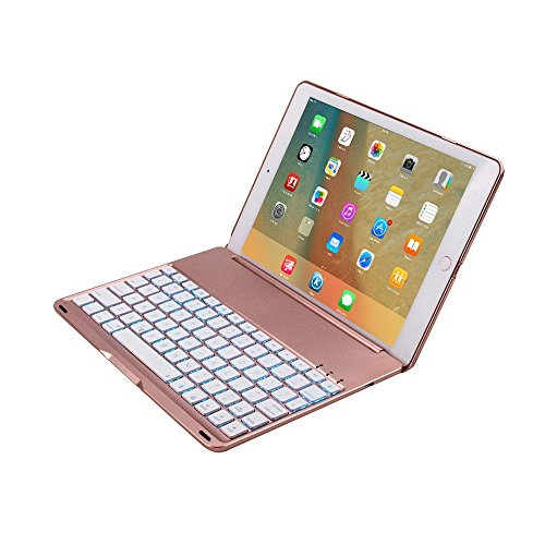 TechCode Smart 7 Color Keyboard Case Stand Folio Backlit Light Colorful Bluetooth Keyboard Case With Executive Multi Function Case for iPad Pro 9.7 Inch (iPad Air 2, Rose gold)