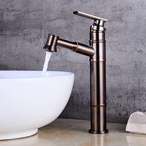 Yadianna バスルームのシンクは、スロット付き浴室の洗面台のシンクホットコールドタップミキサー流域の真鍮のシンクの洗面の蛇口の上カウンター盆地に発生プル蛇口バスルームの洗面台の蛇口温水と冷水の蛇口をタップ