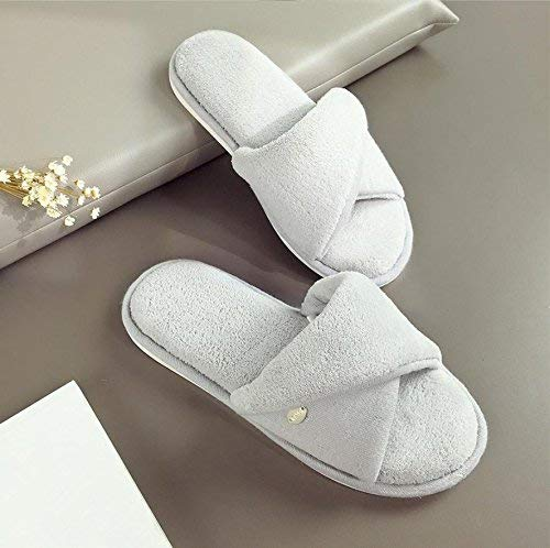 Grey GouuoHi Womens Slippers Ladies Casual Cotton Slippers Home Interior Warm Slippers Yellow Solid color Simple Style Super Soft Plush Comfortable Slippers