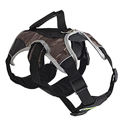 EXPAWLORER Escape Proof Outdoor Dog Harness Safety Air Mesh Reflective 5 Points Adjustment Pet Vest with Handle for Hiking, Walking & Climbing