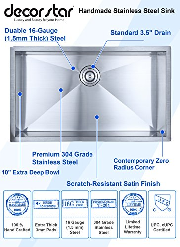 Decor Star H-001-Z 32 Inch x 19 Inch Undermount Single Bowl 16 Gauge Stainless Steel Luxury Handmade Kitchen Sink cUPC Zero Radius by Decor Star (Image #1)