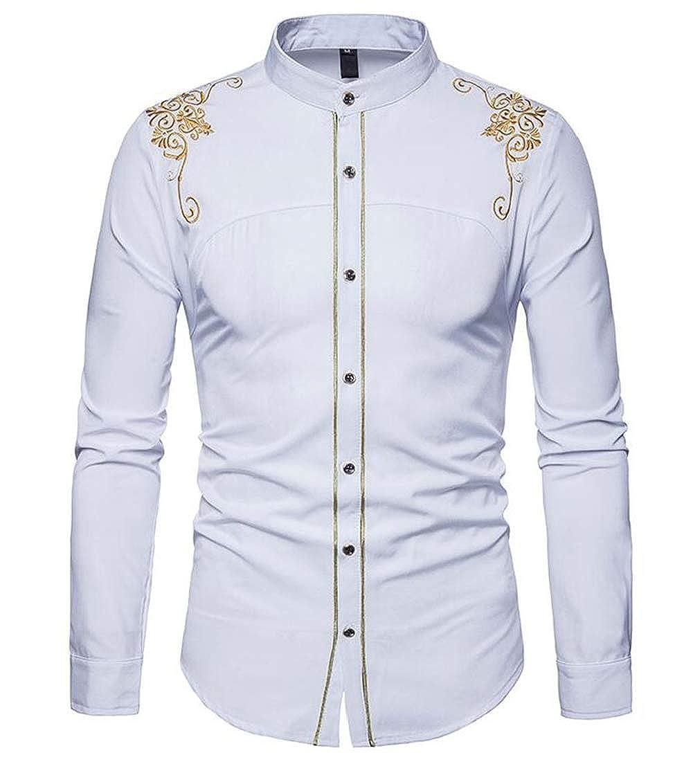 CRYYU Men Print Dashiki Slim Fit Long Sleeve Button Up Embroidery Shirt