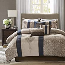 Madison Park Donovan King Size Bag-Taupe, Navy, Jacquard Pattern – 7 Pieces Bedding Sets – Ultra Soft Microfiber Bedroom Comforters