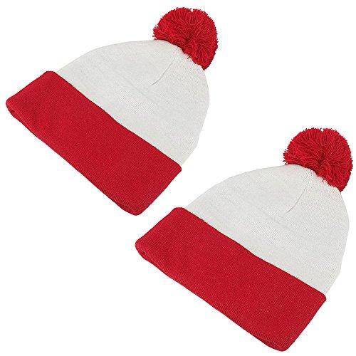 [Waldo Costume Red White Pom Pom Cuff Knit Beanie Hat (One Size, 2 Pack)] (Wheres Waldo Halloween)