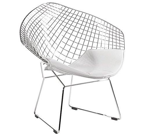 Plata Bertoia Style Diamond Chair White