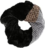 Sakkas 16109 - Julie Short Wrap Around Two Sided Faux Fur And Ribbed Knit Infinity Scarf - Black / Grey - OS