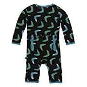 KicKee Pants Little Boys Print Coverall with Zipper - Midnight Boomerang, 6-9 Months