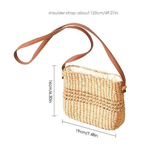 femmes sac sac à fourre sac lune en de sac Sac sac main la bandoulière tissé à tressé main à voyage pour à paille tout main paille de les Or à de usage demi bambou bandoulière double 8I8xn4B1q