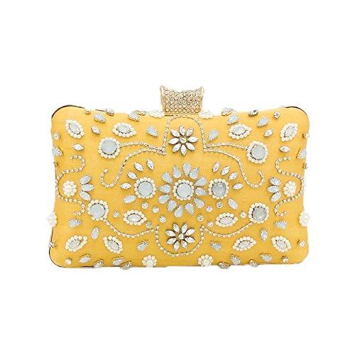 soirée sacs des de Main de partie gamme main sac à de femmes haut sac Yellow de d'embrayage banquet Noël dames tenant et de pour POSFwPq