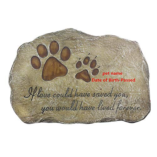 jinhuoba Personalized Dog Memorial Stone - Engraved with The Name of The Pet and The Date, Evergreen Garden Memorial Stone- Pet Loss Gift (Customize-3)