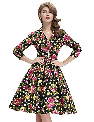 50 Outfits For Womens (High Waist Floral Polka Dot 50's Vintage Floral Cotton Dresses for Women M BP33-1)