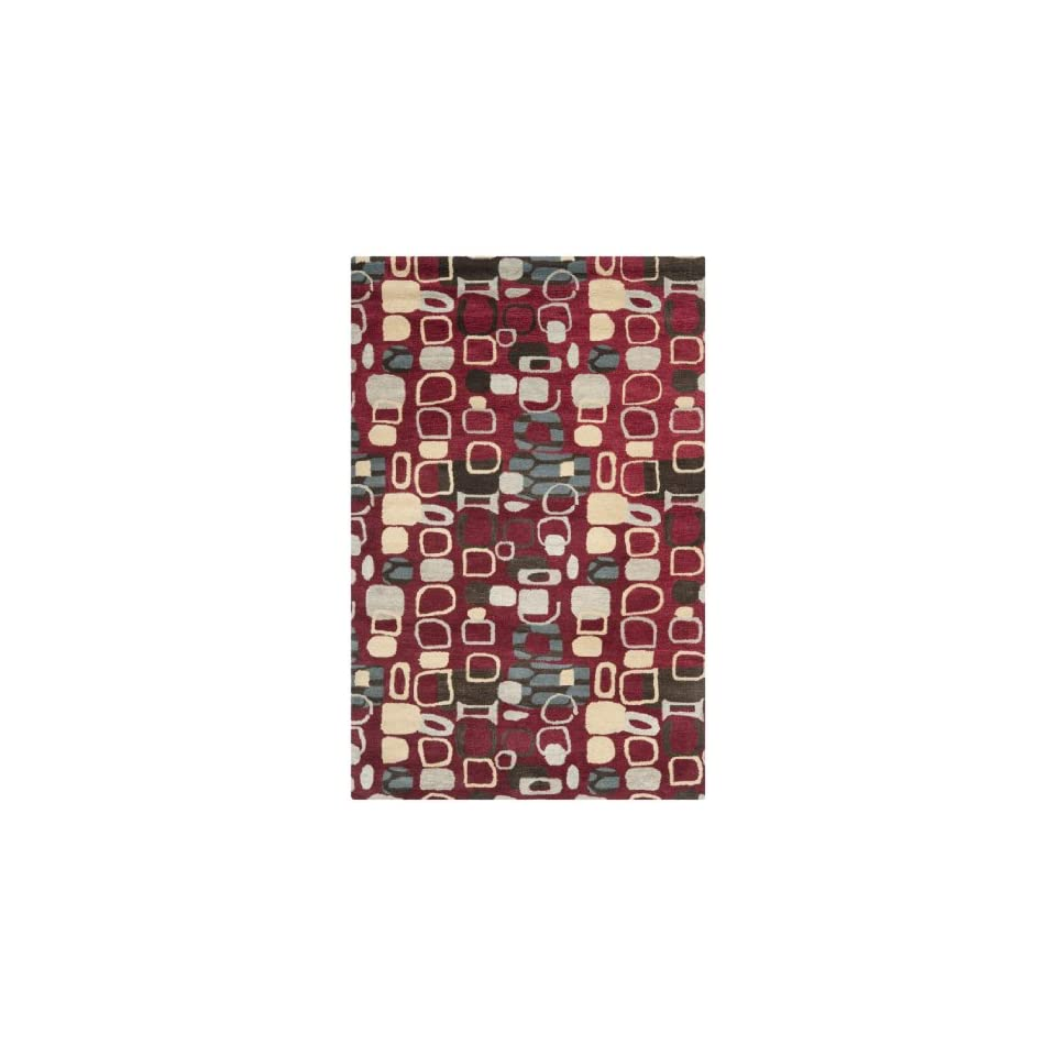 Safavieh Wyndham Collection WYD621A Handmade Abstract Red and Multi Wool Area Rug (5 x 8)