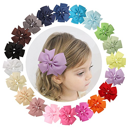 Shemay™ 4 pouces 20 couleurs unies Bow pince à cheveux grande Pinwheel pour bébé fille enfant adolescent