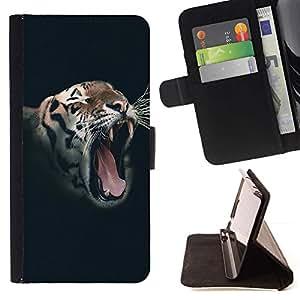Momo Phone Case / Flip Funda de Cuero Case Cover - Rugido del tigre salvaje Vignette animales Rayas - HTC Desire 626