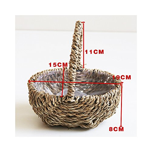 Endlless Hand-Woven Natural Straw and Willow Basket Wicker Flower Pots Flower Wall Hanging Flowerpot Hanging Basket Rustic Rattan Hanging Wall Basket-10