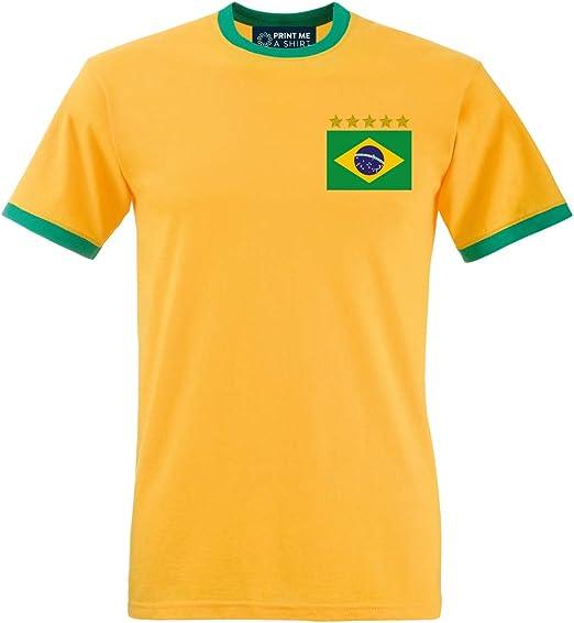 Camiseta de fútbol, retro, a medida, personalizable, diseño de selección de Brasil, unisex, color Sunflower / Kelly Green, tamaño S / 35