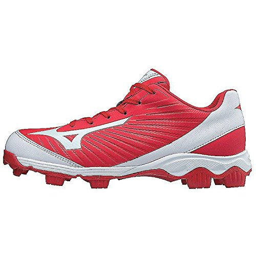 Mizuno (MIZD9) Men's 9-Spike Advanced Franchise 9 Molded Baseball Cleat - Low Shoe, Red/White, 8.5 D US (Athletic Baseball Cleats)