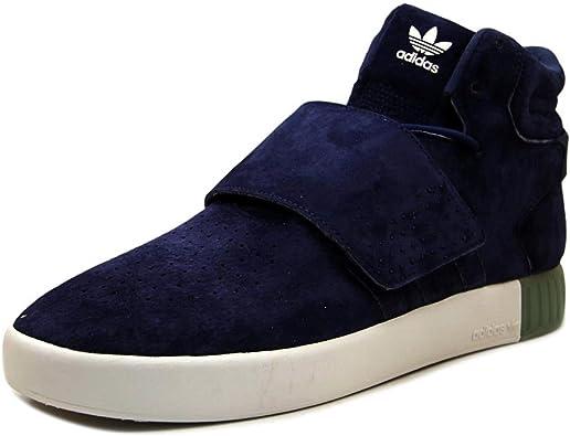 uno Mirar fijamente arcilla  Amazon.com | adidas Men's Tubular Invader Strap Dark Blue/Clear Aqua  High-Top Leather Basketball Shoe - 10M | Fashion Sneakers
