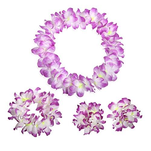 Arlai Set of 4 Hawaiian Luau flower Leis Hula dance necklaces bracelets headband (Hawaiian Four)