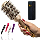 Fagaci Round Brush for Blow Drying with Natural Boar Bristle, Round Brush | Nano Technology Ceramic + Ionic for Hair Styling, Drying, Healthy Hair and Add Volume | Hair Brush + 4 Styling Clips
