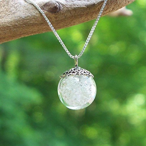 Recycled Vintage Clear Milk Bottle Clear Glass Orb Necklace