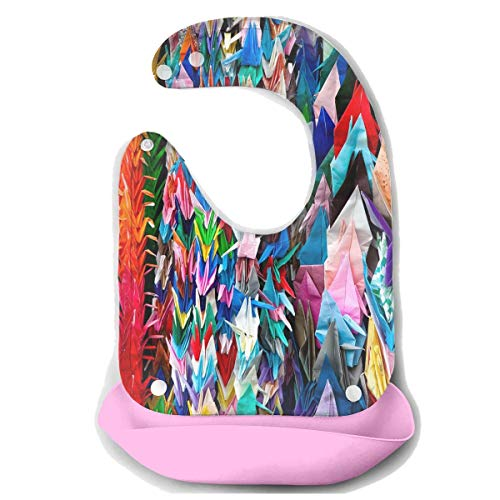 Price comparison product image Waterproof Baby Super Bib Feeding Roll-up Bibs Origami Papercraft Cranes Silicone Bib For Babies&Toddlers