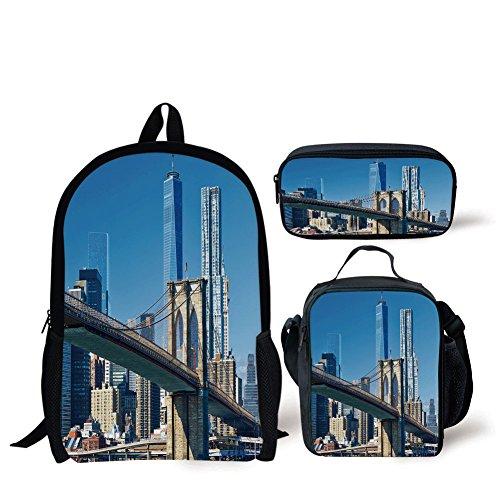 iPrint School Lunch Pen,United States,Lower Manhattan Skyline Brooklyn Bridge in New York City Famous Landmark,Light Blue Tan,Bags