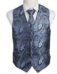 EGD2B.01 Gift Giving Paisley Microfiber Dress Tuxedo Vest Neck Tie Set by