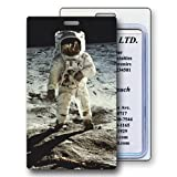 Lenticular Luggage Tag Clear Plastic Loop, 3D astronaut on moon, Bags Central