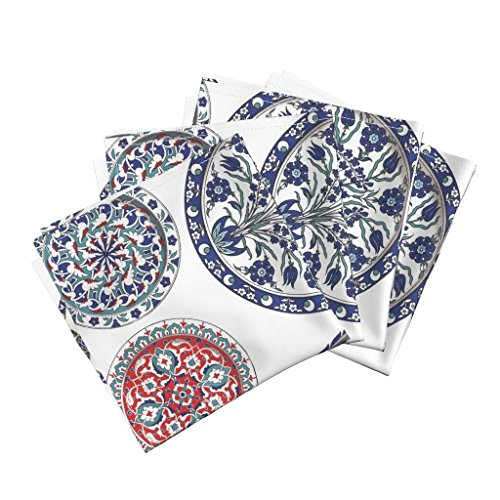 Roostery Plates China Tea Victorian Delft Willow Blue And White Organic Sateen Dinner Napkins China Plates by Peacoquettedesigns Set of 4 Dinner Napkins Custom China Plates