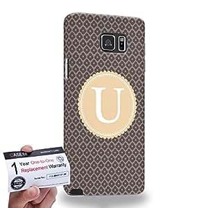 Case88 [Samsung Galaxy Note 5] 3D Printed Snap-on Hard Case & Warranty Card - Art Typography Fashion Alphabet U Style