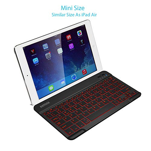 Arteck HB030B Universal Slim Portable Wireless Bluetooth 3.0 7-Colors Backlit Keyboard with Built in Rechargeable Battery, Black