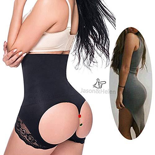 Jason&Helen Women's Butt Lifter Shaper Seamless Tummy Control Hi-Waist Thigh Slimmer Black Medium/Large